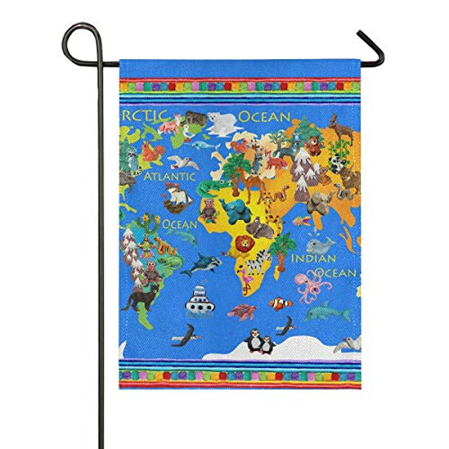 JIRT Banner Gift Summer Double Sided Welcome Yard Cartoon Animal Map Garden Flag