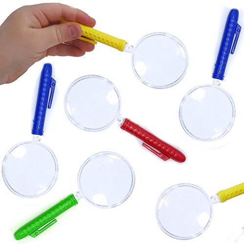 German Trendseller® - 6 x Lupen - Farb Mix - Neu -┃ Detektiv ┃ Kindergeburtstag ┃ Mitgebsel ┃ Vergrößerungsglas ┃ 6 Stück