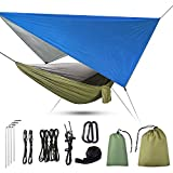 <span class='highlight'><span class='highlight'>Uong</span></span> Camping Hammock, 3 in 1 Camping Hammock with Zipper Mosquito Net and Tarpaulin, 200kg Load Capacity Hammocks Breathable Mosquito Net Quick Drying Tarpaulin for Camping Hiking Picnic Garden