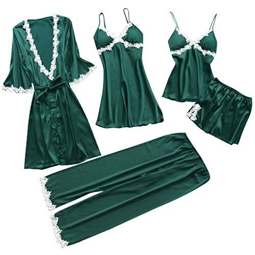 Proumy Conjunto Pijamas Mujer Verano Batas Sexy de Seda 5 Piezas Sets Camisola de Tiras Pantalones y Calzoncillos Kimono Cuello V Larga Chaleco de Encaje Floral Blanca Ropa de Dormir Vestido Verde