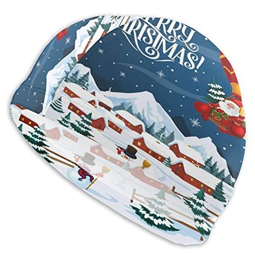 N\ A Swim Cap Winter Holiday Merry Christmas Santa Swimming Caps Hat for Women Men Adult Spandex Bathing Caps Long Short Hair Ladies Swim Hat Swimming Accessories Water Sports
