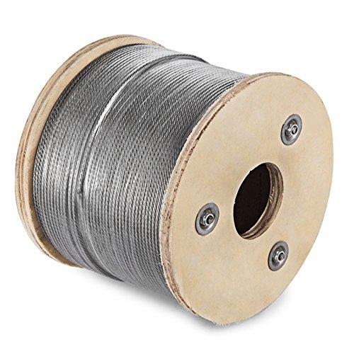 Mophorn Câble en acier inoxydable 7 X 7 Câble en acier T316 Câble en acier (7 X 7 150 m)