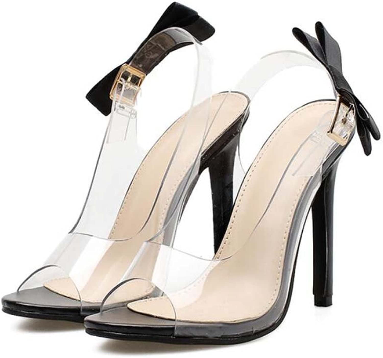 Pump 11cm Stiletto Peep Toe Bowknot Transparent Sandals Dress shoes Crystal shoes Women Slingbacks Pure color OL Casual Court shoes Party shoes EU Size 34-40