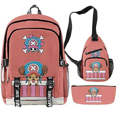 3D Anime One Piece Backpack Luffy Chopper Zoro School Book Bag Crossbody Sling Bag with Pencil Pouch for Men Boys Fans (38)