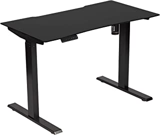 """AECOJOY Electric Standing Desk with 43.3 x 23.6""""Black Glass Table Top, Single Motor Frame, Height Adjustable Stand Up Workstation with Memory Preset Controller"""
