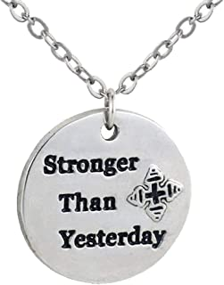 Gostear Stronger Than Yesterday Letter Necklace Inspirational Pendant Jewelry for Grils Women Men