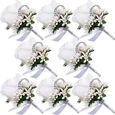 Men Wedding Boutonniere Wedding Flowers Buttonholes Accessories Groom Groomsman Prom Party Suit Decoration (8, White 7)