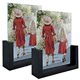 MEBRUDY 5x7 Picture Frames Glass Photo Frame with Wooden Base, Black, 2 Pack, Tabletop Display