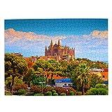España Catedral de Palma de Mallorca Rompecabezas para Adultos, 500 Piezas de Madera, Regalo de Viaje, Recuerdo, 20.4 x 15 Pulgadas