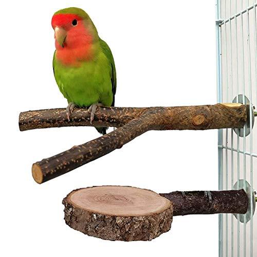 Nynel 2 soportes de madera natural para loros, percas, loros, pinchos de madera, plataforma de madera de manzana, parque de juegos para pequeños periquitos, guacamayos, loros, finos.