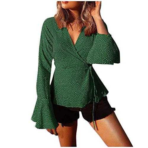 Auifor Art- en wijsvrouwen V-aanzet verband-lange lak-hulzen punten overstijgt de blouse