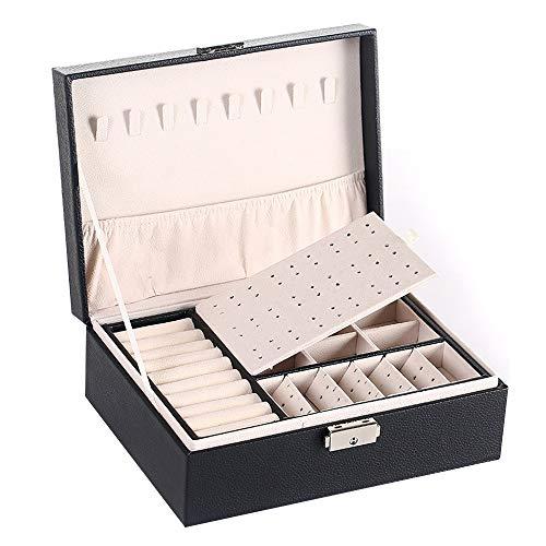 Hourongw Joyero organizador pequeño de viaje de piel sintética de doble capa de almacenamiento para joyas, anillos, pendientes, collares, pulseras y joyas de piel sintética caja de regalo