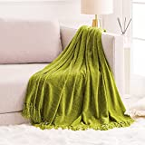 FRESHMINT Throw Blanket Soft Fluffy Chenille with Decorative Tassel Fringe for Home Decor Sofa Couch Bed Gift 60 x 80 Inch, Green