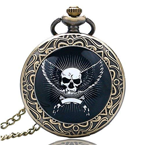 J-Love Vintage Cool Skull Colgante Bronce Long Neckalce Reloj de Cuarzo Antiguo Steampunk Cara Blanca Regalo Hombres Niño