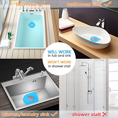 Wimaha Bathtub Drain Stopper Silicone Recyclable Rubber Bath Tub Drain Plug Cover for 1-1/2-4in Bathroom, Laundry, Kitchen Universal Use, Blue Water-Drop Design