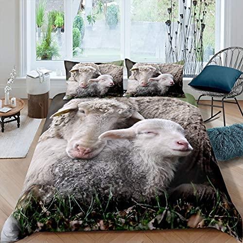 Funda de edredón de oveja con funda de edredón de oveja bebé Juego de ropa de cama de animales de granja para niños, niñas, adolescentes, funda de edredón de corderito con 1 funda de almohada, tamaño