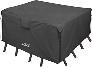 ULTCOVER 600D PVC Durable Square Patio Table with Chairs Cover - Waterproof Outdoor Furniture Table Covers 94 inch, Black