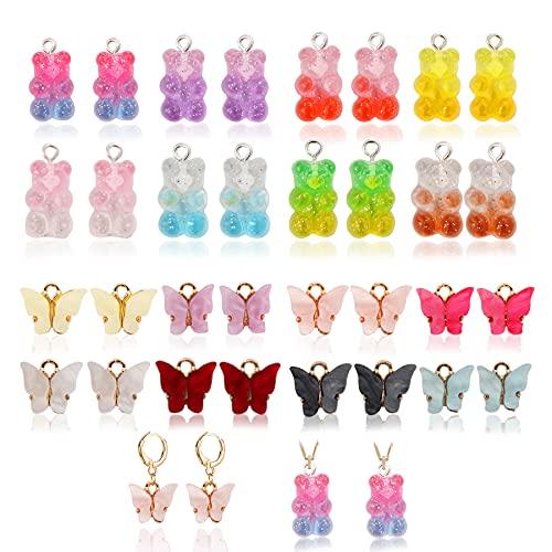 32 pendientes acrílicos con diseño de mariposas, ositos, multicolor, para hacer joyas, para pendientes, pulseras, collares, llaveros.