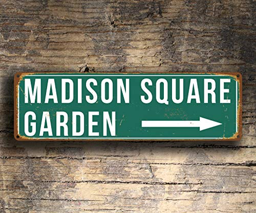 CELYCASY Plaque de Jardin carrée Madison Style Vintage Madison Square Garden Home of The New York Knicks and Rangers Madison Square Garden