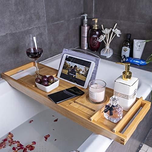 Luxury Home Spa Wood Bath Caddy avec Verre à Vin/Siège IPad/Smartphone Siège Toilette Rétractable Rack De Salle De Bain Antidérapant