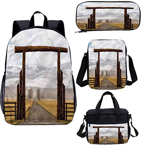 Western 17' Backpack with Lunch Bag,Pencil Case Set,Montana Cattle Ranch Winter Bookbags 4 in 1