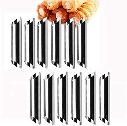 Cannoli Bandeja para hornear Juego de 12 tubos Cannoli Moldes/tubos para hornear de cuerno de acero inoxidable Rollo de crema Pastel Pastelería Horno en espiral Bandeja para hornear