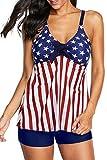Zando Plus Size Swimsuits for Women Two Piece Swimsuits Tummy Control Swimwear Modest Tankini Top with Boyshort Swimsuit 2 Piece Bathing Suit Slimming Tankini Swimsuits American Flag 3XL (US 18-20)