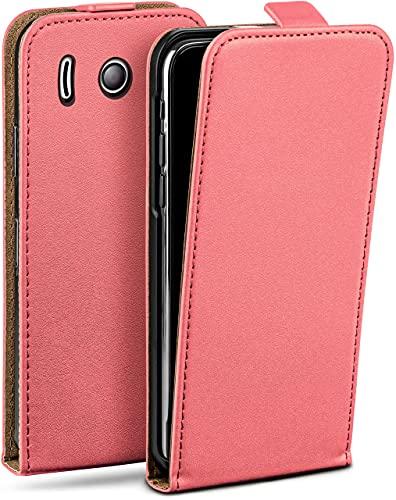 moex Flip Hülle für Huawei Ascend Y300 Hülle klappbar, 360 Grad R&um Komplett-Schutz, Klapphülle aus Vegan Leder, Handytasche mit vertikaler Klappe, magnetisch - Korall