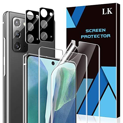 LK 4 Stück Schutzfolie kompatibel mit Samsung Galaxy Note 20, Kamera Folie & Galaxy Note 20 Folie, Unterstützt Blitzaufnahmen & Fingerabdruck-ID, TPU Bildschirmschutz, Vollständige Abdeckung