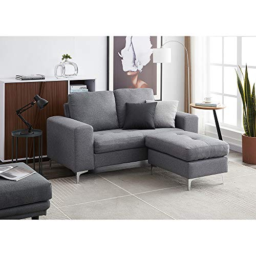 2 Seater Sofa / 3 Seater Sofa L Shaped Sofa with Footstool Linen Fabric Corner Sofa Couch Lounge Sofa Left or Right Chaise Settee for Living Room Home Office (Gray, 2 Seater with Footstool)
