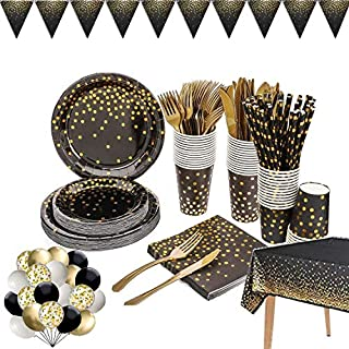 142 Pieces Black and Gold Party Supplies Set, Golden Dot Disposable Party Dinnerware, Include Black Paper Plates Napkins C...