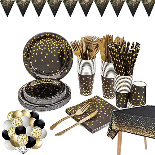 142 Pieces Black and Gold Party Supplies Set, Golden Dot Disposable Party Dinnerware, Include Black Paper Plates Napkins Cups, Gold Plastic Forks Knives Spoons for Graduation, Birthday, Cocktail Party