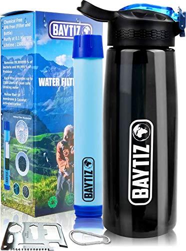Baytiz- Botella de Agua con Filtro Purificador sin BPA - Paja de Supervivencia de Carbón Activado Filtros Purificadores Accesorios Pastillas Potabilizadoras Filtrada Potabilizador Deporte Grifo Water