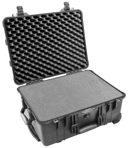 PELI 1560 Schutzkoffer mit Rollen und Einziehbarem Teleskopgriff, IP67 Wasserdicht, 44L Volumen, Hergestellt in Deutschland, Mit Schaumstoffeinlage (Anpassbar), Schwarz