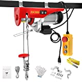 BEAMNOVA 2200lb (1 Ton) Electric Hoist Lift Overhead Winch 4.92 Ft Remote Control Hook Pulley Lifting Strap Installation Kit Push Button Switch
