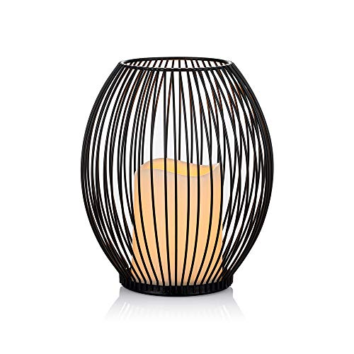 Sziqiqi Cage Candle Holder with Battery Operated Pillar Candle in Wire Cage, Decorative Candle Lantern, for Table Centerpiece Home Mantel Fireplace Patio Entryway Foyer Decoration, Black 7.3in