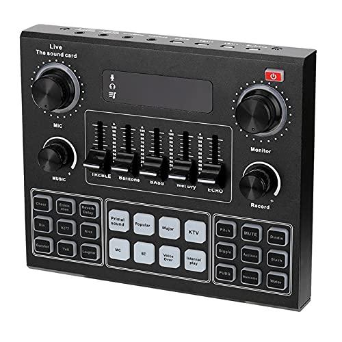 サウンドボードミキサー、 V9オーディオサウンドカード3.5mmマイクのヘッドセットライブ放送スタジオ電話コンピュータサウンドアダプタ