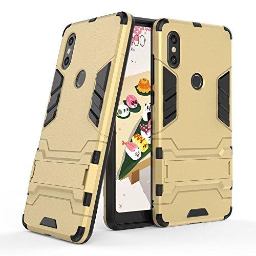 Funda para Xiaomi Mi Mix 2S (5,99 Pulgadas) 2 en 1 Híbrida Rugged Armor Case Choque Absorción Protección Dual Layer Bumper Carcasa con Pata de Cabra (Dorado)
