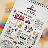 BLOUR Pegatinas Creativas de Vacaciones en Londres Pegatina de Diario Decoración de Bloc de Notas Pegatinas de papelería de PVC