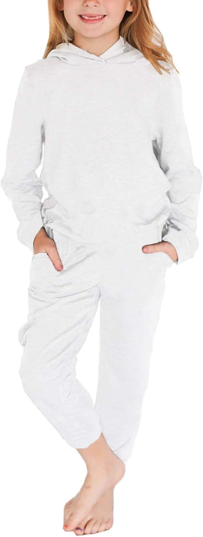 Kids Girls 2 Piece Tracksuit Pajamas Set Long Sleeve Hoodie Top and Jogger Sweatpants Set Cute Cozy Loungewear