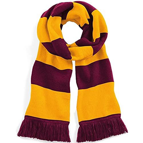 Beechfield Varsity Unisex Winter Scarf (Double Layer Knit) (One Size) (Burgundy/Gold)