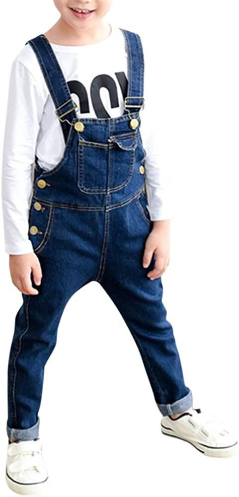 Boys' Denim Bib Overall Toddler Unisex Casual Blue Thin Washed Denim Overall Pants