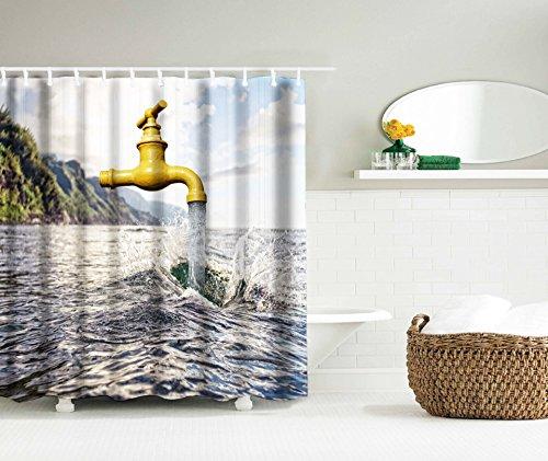 LAundNA Kreativer Wasserhahn Design Digtal Gedruckt Wasserdichte Stoff Duschvorhang Multi Farbe , 150*180