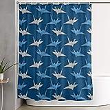Yuanmeiju For Decorative Bathroom Curtain Japanese Origami Crane Cortina de la Ducha with Hooks Waterproof Bathtub Curtain 72''W X 72''H
