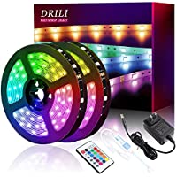 DRILI 32.8 ft RGB Color Changing LED Strip Lights with Remote