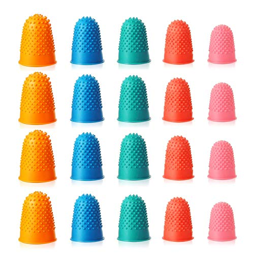 CNXUS 20 Stück Gummi Fingerspitzen Fingerkissen Dick Wiederverwendbare Fingerschutz Finger Fingeranfeuchter für Geldzählen, Schreiben, Sortieren,Saitenübung (5 Größen und Farben)