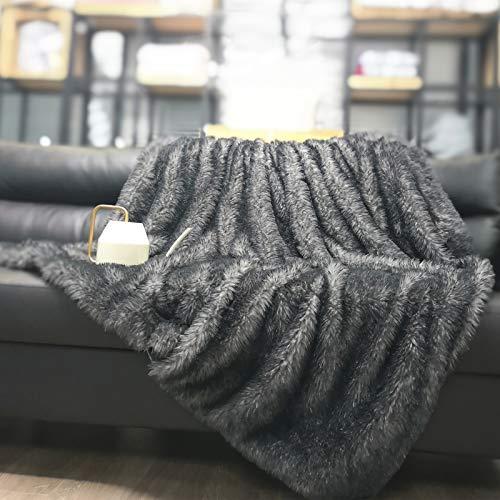 DECOSY Luxury Faux Fur Throw Blanket, Ultra Soft Fuzzy Bed Blankets, Lightweight...