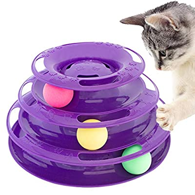 Purrfect Feline Titan's Tower - New Safer Bar Design, Interactive Cat Ball Toy, Exerciser Game, Teaser, Anti-Slip, Active Healthy Lifestyle, Suitable for Multiple Cats 3 Tier (Purple) from Downtown Pet Supply