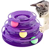 Purrfect Feline Titan's Tower - New Safer Bar Design, Interactive Cat Ball Toy, Exerciser Game, Teaser, Anti-Slip, Active Healthy Lifestyle, Suitable for Multiple Cats 3 Tier (Purple)
