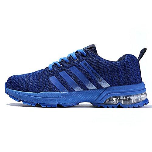 Topteck Tênis de corrida masculino e feminino com almofada de ar para caminhada, Azul, 14 Women/12 Men